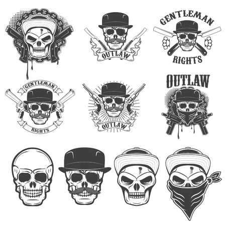 Set of the stickers with gangster skulls and weapon. Design elements for emblem, badge, sign. Vector illustration.