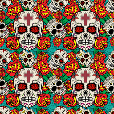 Seamless pattern with sugar skulls and roses. Day of the Dead. Vector illustration. Ilustrace