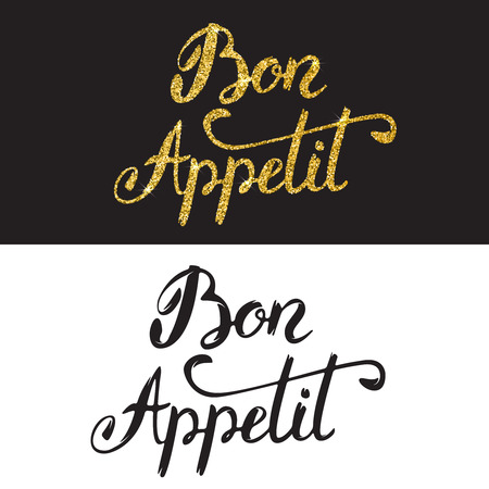 Bon appetit. Hand drawn lettering with golden style isolated on white background. Design element for menu. flyer, poster. Vector illustration. Illustration