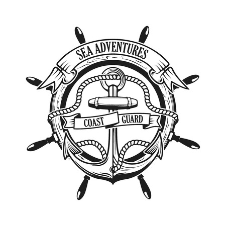 Sea adventures. Coast guard. Anchor with rope and ribbons on background with steering wheel. Ship helm. Design element for logo, label, emblem, sign, t-short print, sign. Vector illustration. Illustration