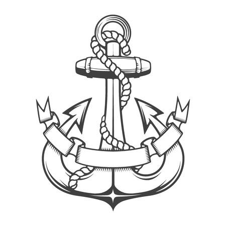 monochrome anchor with ribbon. Design element for logo, label, emblem, sign, brand mark. Vector illustration. Illustration