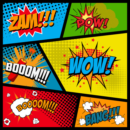 Comic style phrases in frames. Cartoon explosion. Zam. Pow. Bang. Boom. Wow. Vector illustration.