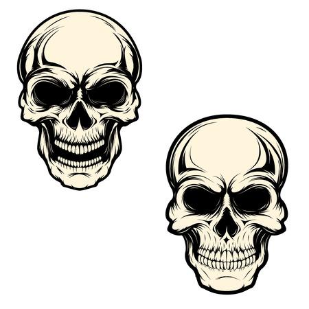 Set of human skulls isolated on white background. Design element for logo, label, emblem, sign, brand mark, t-shirt print. Vector illustration. Ilustrace