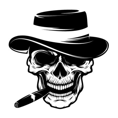 Skull with cigar and hat. Design element for emblem, badge, sign, t-shirt print. Vector illustration. Stock Illustratie