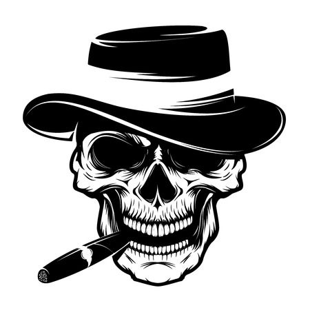 Skull with cigar and hat. Design element for emblem, badge, sign, t-shirt print. Vector illustration. Illustration