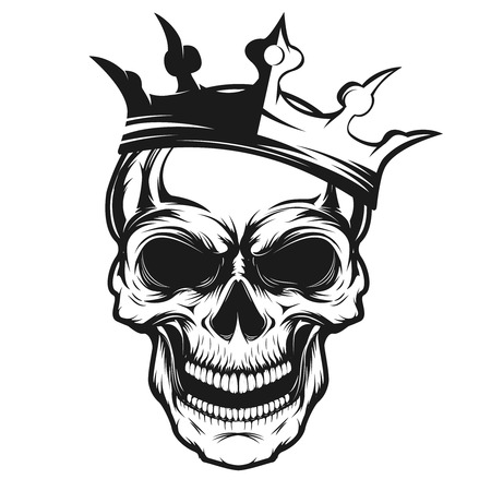 Skull with crown. Design element for emblem, badge, sign, t-shirt print. Vector illustration.