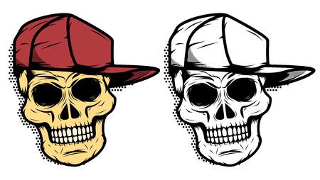 Skull in baseball hat with halftone effect. Design element for emblem, badge, sign, t-shirt print. Vector illustration.