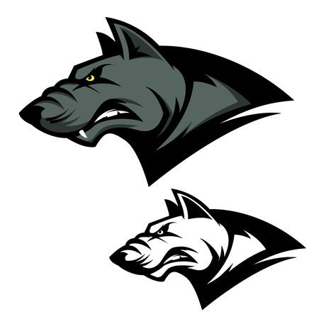 Angry wolf head. Sport team mascot. Design element for logo, label, emblem, sign, brand mark. Vector illustration.