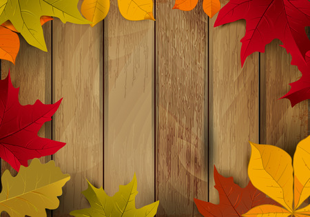 Frame from yellow autumn leaves on wooden background. Design element for poster, greeting card. Vector illustration.