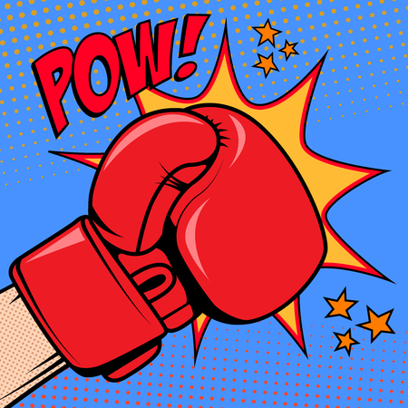 Human hand in pop art style with boxing glove. Pow. Design element for poster, flyer. Vector illustration.