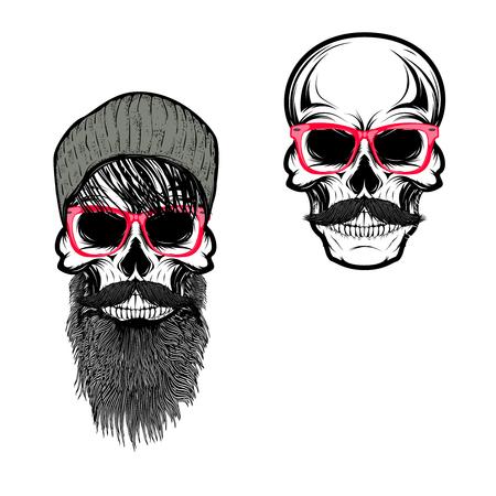 Set of  hipster skulls in hat and sunglases. Design elements for t-shirt print, poster. Vector illustration.