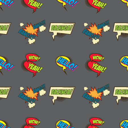 asterisks: Seamless pattern from comic style phrases on colorful background. Oops! Wow! Selfie! Hello! Whop! Censored! Design element in vector. Illustration