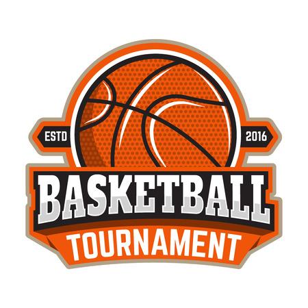 Basketball tournament. Emblem template with basketball ball. Design element , label, sign. Vector illustration. Ilustrace