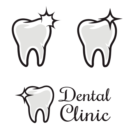 Dental clinic template. Human tooth with flare. Design element for badge, emblem, sign. Vector illustration.