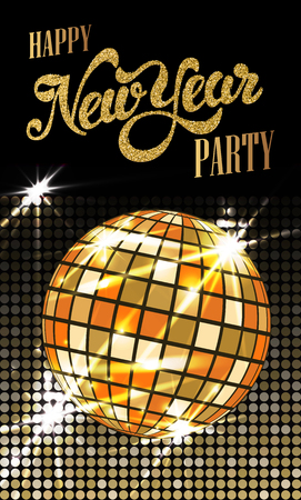 Fashion New Year party poster with gold sparkles. Disco ball with flares. Vector illustration.