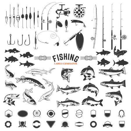 set of Fishing labels design elements. Rods and  fish icons. Design elements , label, emblem, sign, badge. Vector illustration.
