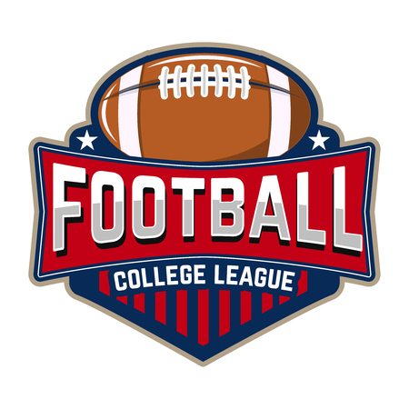 Football college league. Emblem template with football ball. Rugby.  Design element , label, design. Vector illustration. Ilustrace