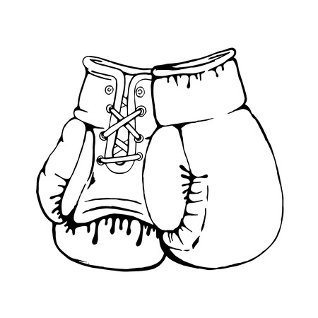 Hand drawn boxing gloves isolated on white background. Design element for poster, emblem, t-shirt print. Vector illustration. Ilustrace