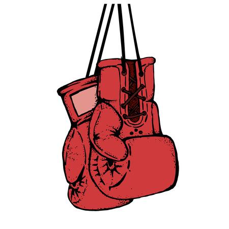 Hand getekende bokshandschoenen geïsoleerd op een witte achtergrond. Ontwerpelement voor poster, embleem, t-shirtdruk. Vector illustratie.