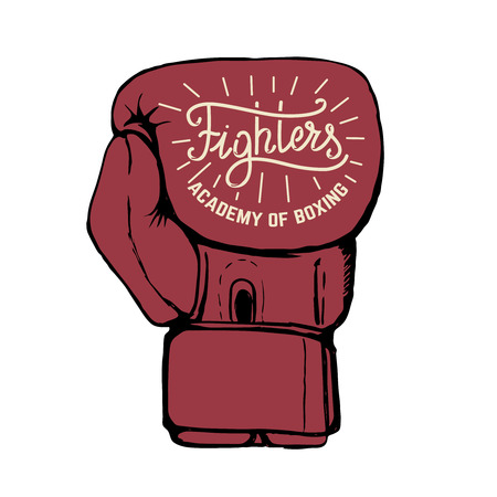 Fighters academy of boxing. Hand drawn boxing gloves isolated on white background. Design element for poster, emblem, t-shirt print. Vector illustration.