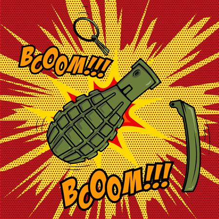 Comic style Grenade explosion. Design element for poster, flyer Vector illustration. Ilustrace