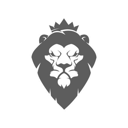 lion head with crown. Design element for logo, label, emblem, sign, brand mark. Vector illustration. Ilustrace