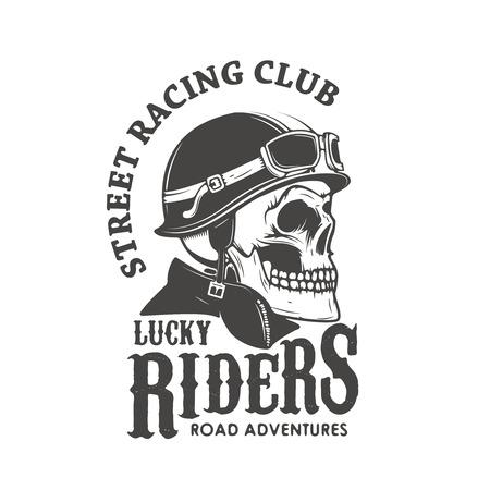 Lucky riders. Street racing club. Skull in racer helmet. Design element for logo, label, emblem, sign, brand mark, poster, t-shirt print. Vector illustration.