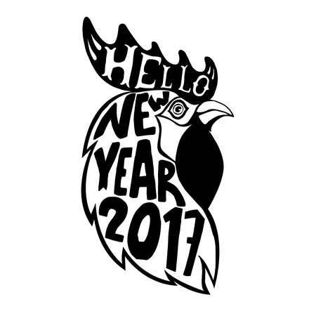 Hand drawn rooster head with lettering. Hello New Year 2017. Design element for poster, emblem, greeting card. Vector illustration. Ilustrace