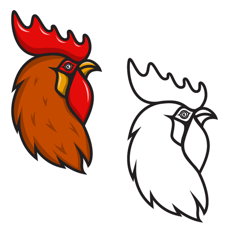 Rooster head isolated on white background. Design element for logo, label, emblem, sign, brand mark. Year of the fire rooster. Vector illustration.
