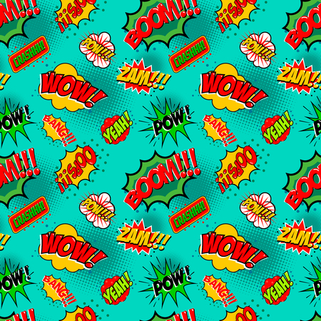 asterisks: Seamless pattern with comic style phrases. Pop art style quotes. Vector design element. Illustration