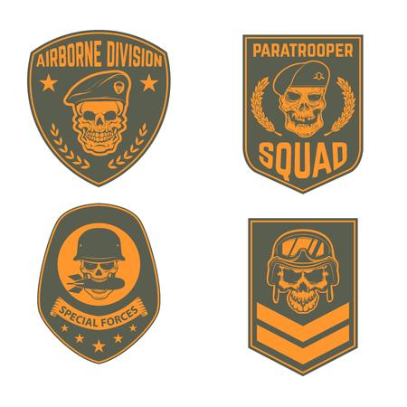 Set of military emblems templates. Skull in paratrooper beret. Skull in soldier helmet.  Design element for logo, label, emblem, sign, brand mark. Vector illustration.