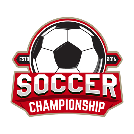 collegiate: Soccer championship. Emblem template with football ball. Design element , label, design. Vector illustration.