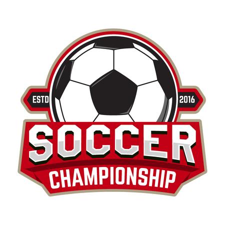 Soccer championship. Emblem template with football ball. Design element , label, design. Vector illustration.