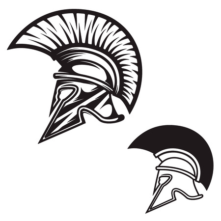 Spartan helmet isolated on white background. Design element , label, emblem, sign, brand mark. Vector illustration.