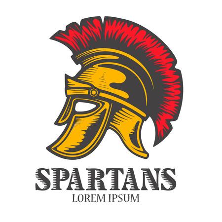 Spartan helmet isolated on white background. Design element for logo, label, emblem, sign, brand mark. Vector illustration.