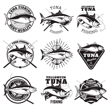 sea fishing: Tuna fishing labels isolated on white background. Design elements for logo, emblem, sign, badge. Vector illustration.