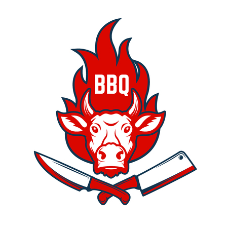 BBQ. Cow head on fire background, knife and meat cleaver. Design elements for poster, menu decoration. Vector illustration.