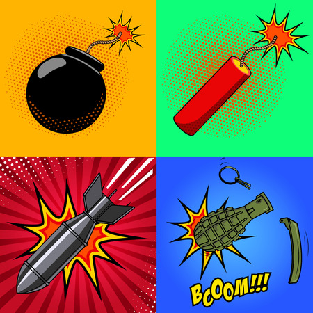 Cartoon bomb, dynamite stick, grenade, with fire in pop art style. Explosions in cartoon style. Design elements for poster, flyer. Vector illustration.