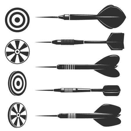 Set of darts for darts game isolated on white background. Design elements for logo, label, emblem, sign, brand mark. Vector illustration.