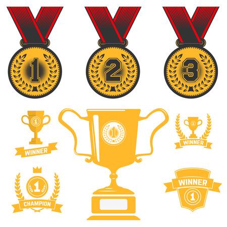 Set of medal icons, trophy, first place. Design element for logo, label, sign, brand mark. Vector illustration.