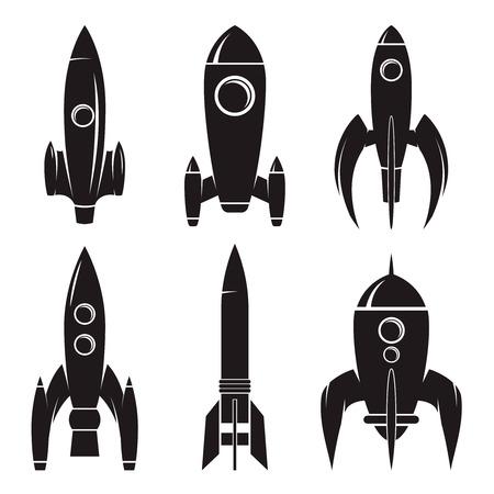 Set of the rockets isolated on white background. Design elements for logo, label, emblem, sign, brand mark. Vector illustration.