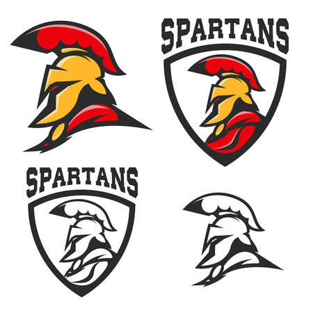 Set of emblems with  Spartan helmet . Design element for  , label, sign, brand mark. Vector illustration.