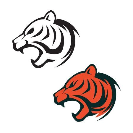 Tiger head logo template. Design element for label, sign, brand mark. Vector illustration.