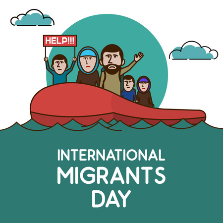 Refugees on the boat in open ocean. Help Us. International migrants day. Vector illustration. Ilustrace