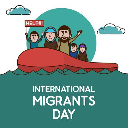 Refugees on the boat in open ocean. Help Us. International migrants day. Vector illustration. Illustration