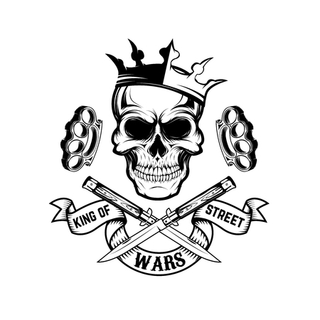 King of street wars. Skull in crown with banner and two crossed knives. Design element for poster, emblem, t-shirt print. Vector illustration. Ilustrace