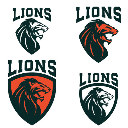 Lions. Set of the emblems templates with angry lion head. Sport team mascot. Design element for logo, label, sign, brand mark. Vector illustration.