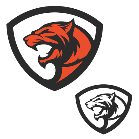 Shield emblem template with puma head. Design elements for logo, label, emblem, sign, brand mark. Vector illustration.