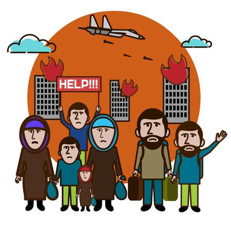 Los refugiados escapan de los bombardeos. Ayúdanos. Día Internacional del Migrante. Ilustración del vector. Ilustración de vector