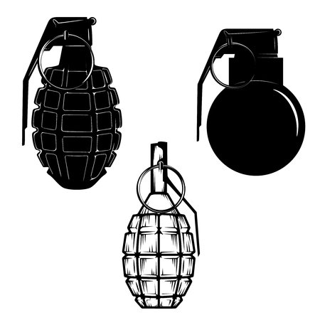 handgrenade: Set of hand grenades isolated on white background. Design elements in vector. Illustration